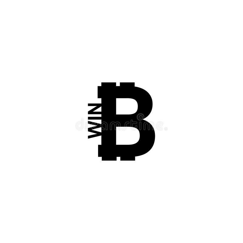 Bitcoin mynt med seger vektor illustrationer