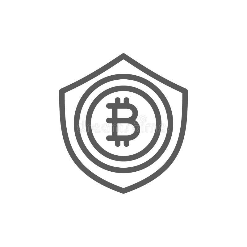 Bitcoin mynt med skölden, skydd, blockchainlinje symbol vektor illustrationer