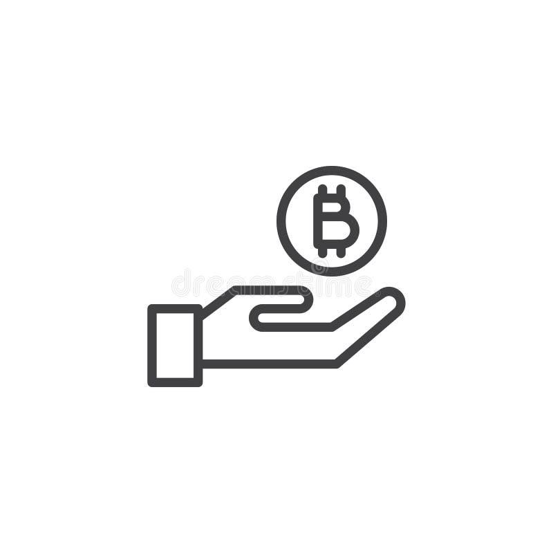 Bitcoin mynt och handöversiktssymbol vektor illustrationer