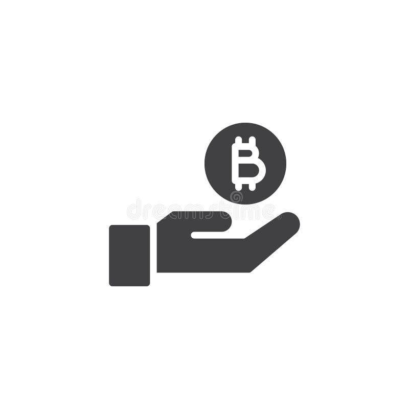 Bitcoin mynt och handvektorsymbol royaltyfri illustrationer