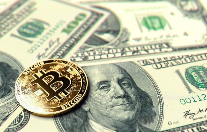 Bitcoin mynt som lägger på dollarräkningar Läge av Bitcoin i Förenta staternabegrepp framförande 3d vektor illustrationer