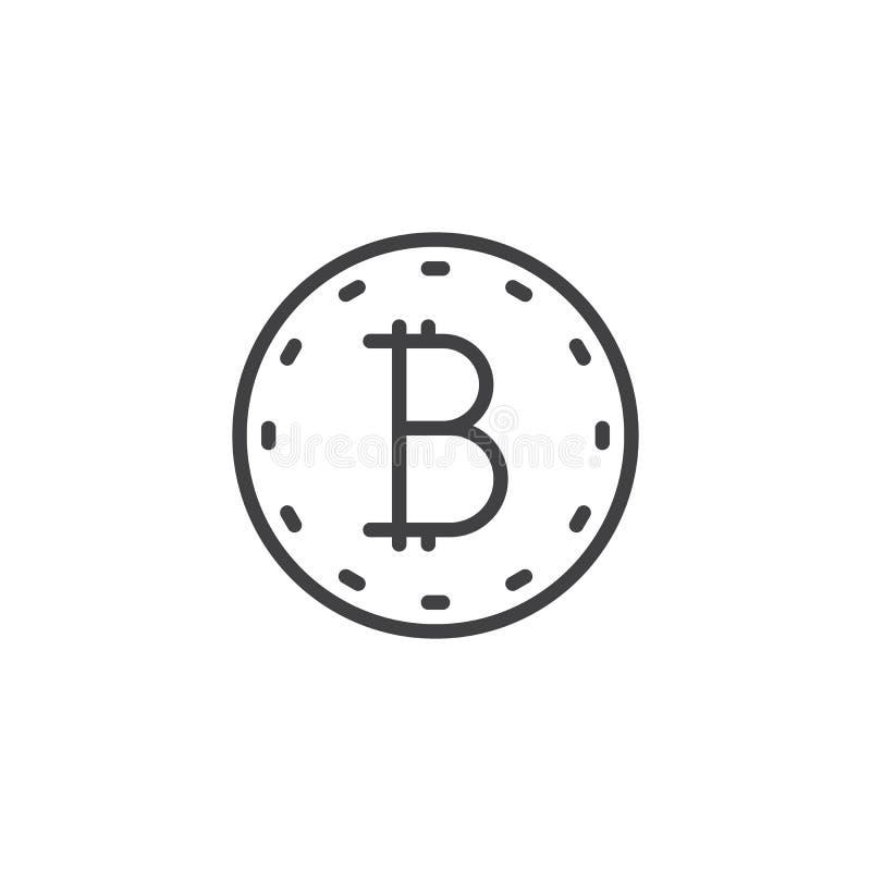 Bitcoin myntlinje symbol royaltyfri illustrationer