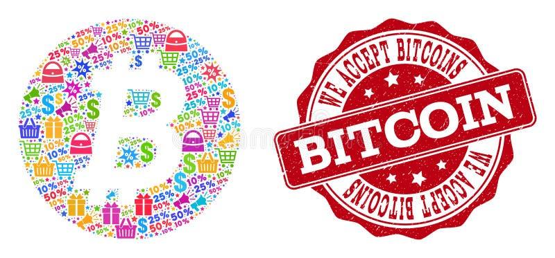 Bitcoin myntsammansättning av den mosaiska och skrapade stämpeln för försäljningar stock illustrationer