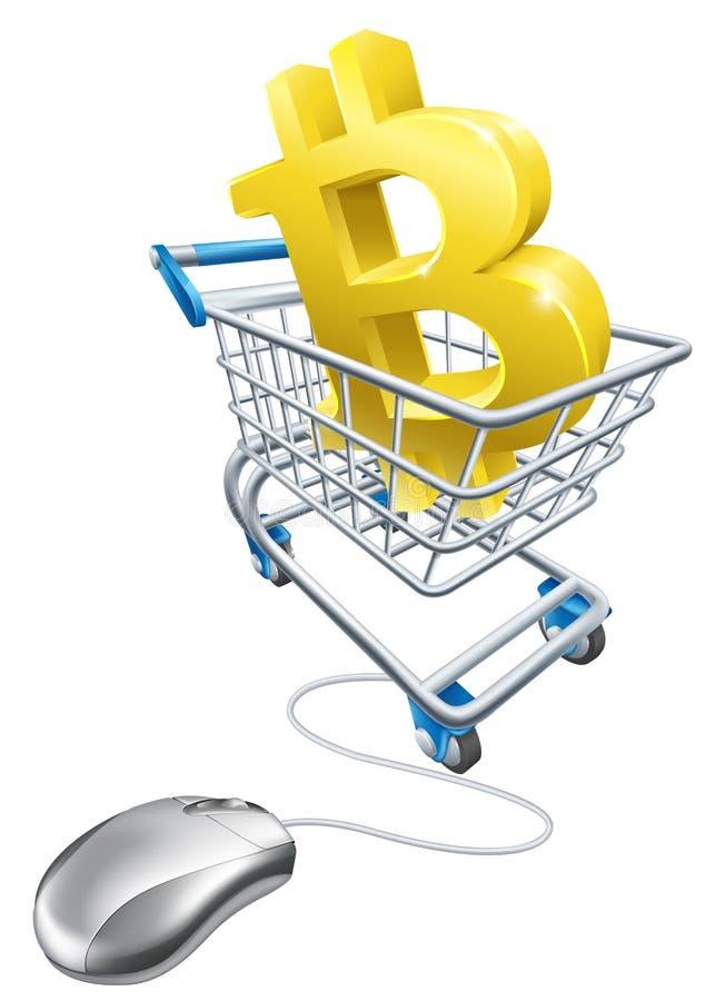 Bitcoin myszy wózka na zakupy Komputerowy pojęcie ilustracja wektor