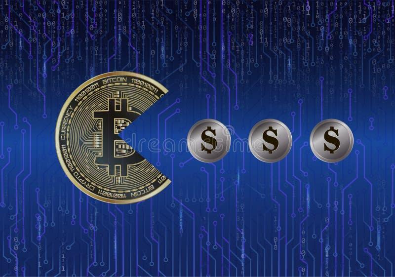 Bitcoin na forma do Pac-homem come dólares das moedas na placa de circuito do fundo e no código binário ilustração stock