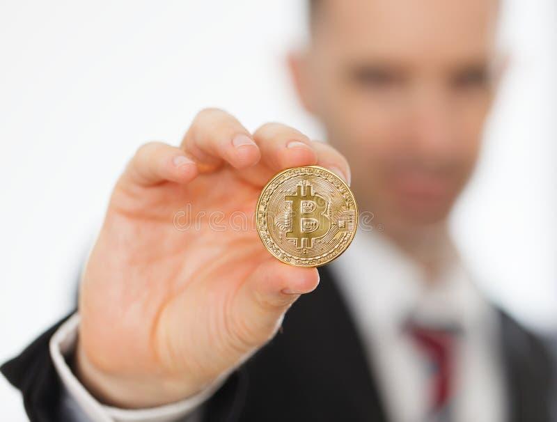 Bitcoin na mão fotografia de stock