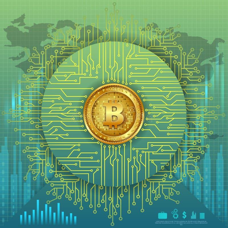 Bitcoin na moeda digital do cryptocurrency da olá!-tecnologia com fundo financeiro das técnicas da criptografia ilustração stock
