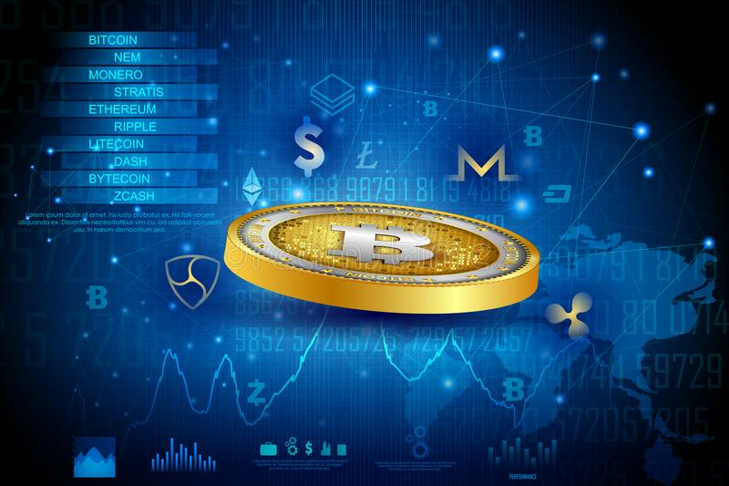 Bitcoin na moeda digital do cryptocurrency da olá!-tecnologia com fundo financeiro das técnicas da criptografia ilustração royalty free