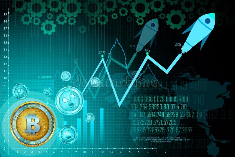 Bitcoin na moeda digital do cryptocurrency da olá!-tecnologia com fundo financeiro das técnicas da criptografia ilustração do vetor