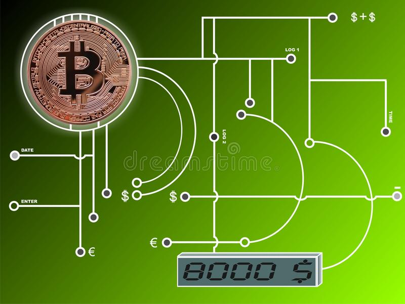Bitcoin na obwód desce ilustracja wektor