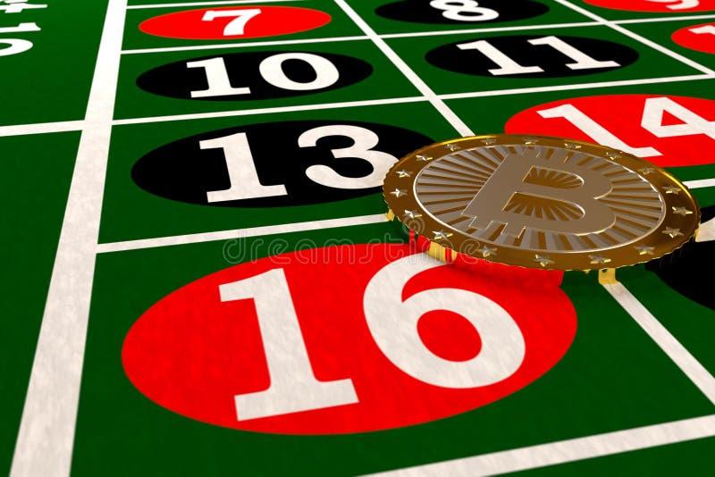 Bitcoin na ruletowym stole royalty ilustracja