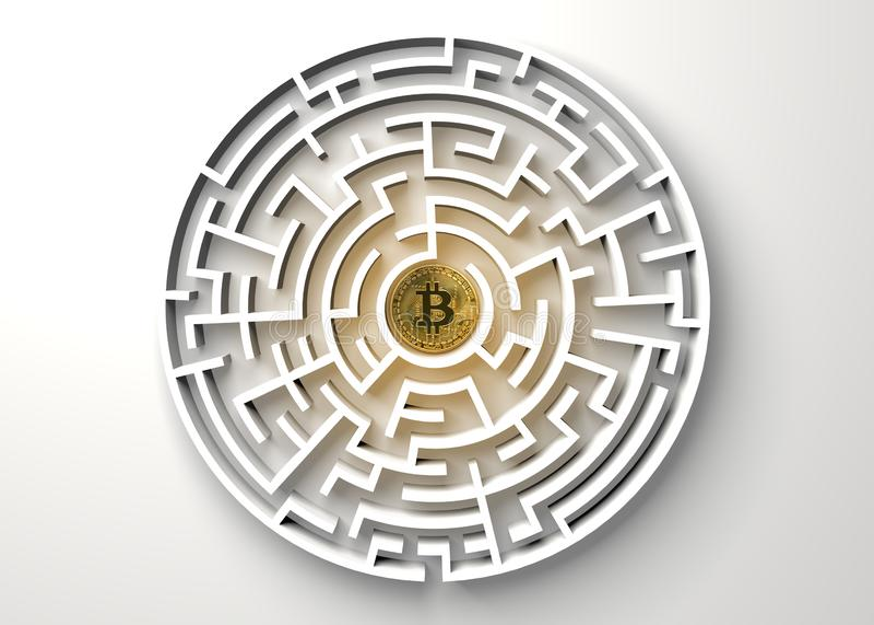 Bitcoin nel punto centrale della vista del labirinto da sopra illustrazione di stock