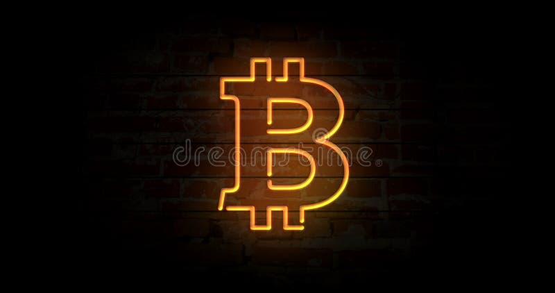 Bitcoin neonowy znak ilustracji