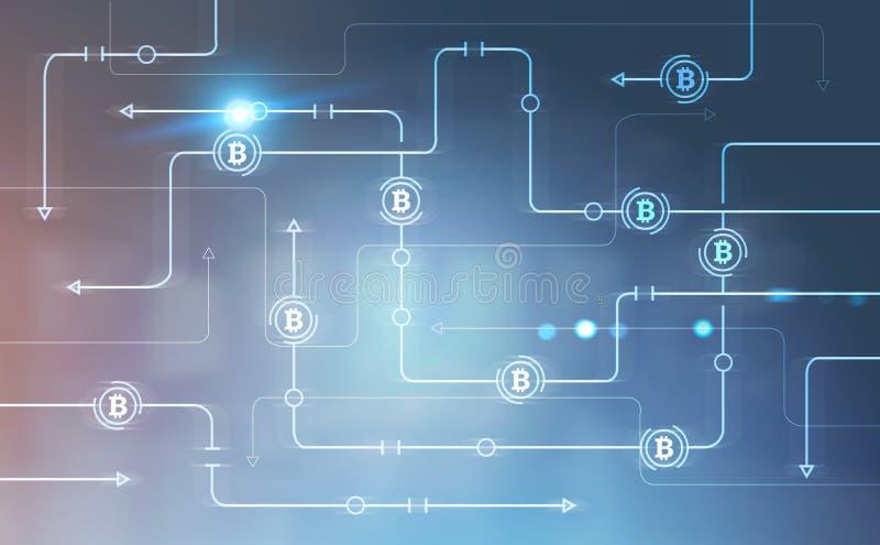 Bitcoin-Netz über unscharfem Bürohintergrund vektor abbildung