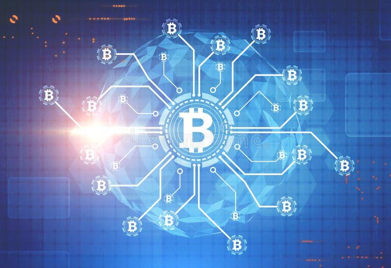 Bitcoin-Netz, ein Planet, blauer Hintergrund lizenzfreie abbildung