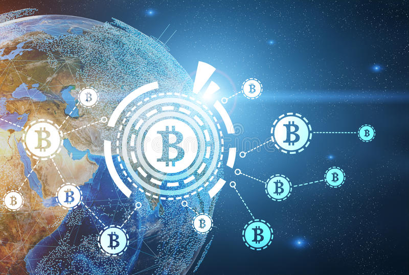 Bitcoin-Netz, Erde, glühend lizenzfreie abbildung