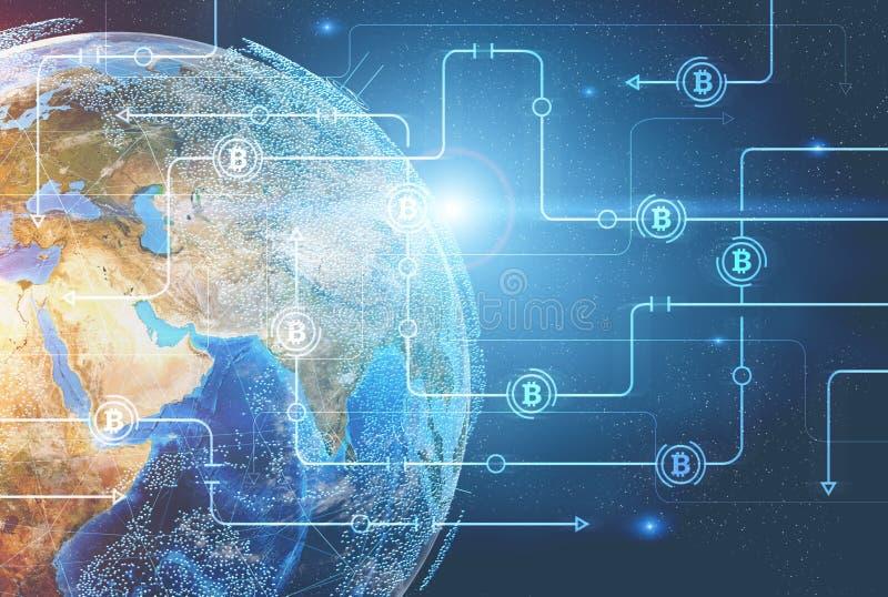 Bitcoin-Netz gegen Planet Erde lizenzfreie abbildung