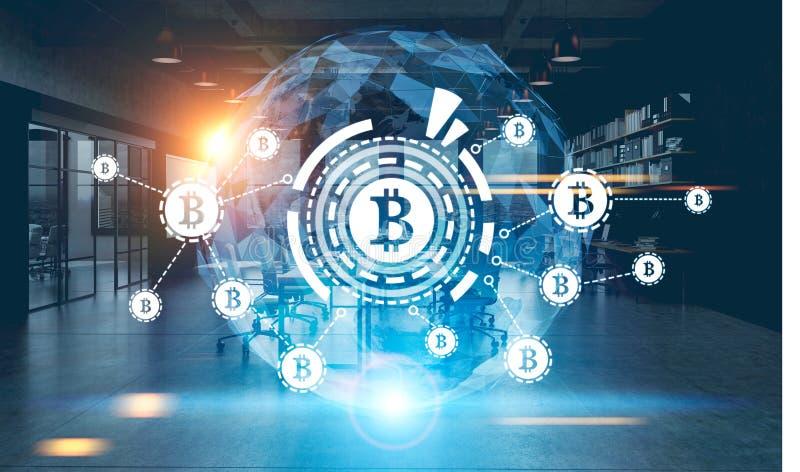 Bitcoin-Netz, HUD, Weltkarte, Nachtbüro lizenzfreie abbildung