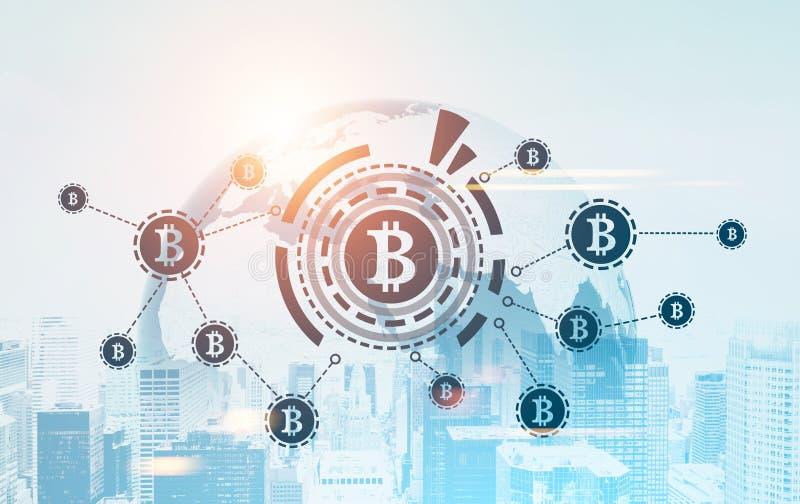 Bitcoin-Netz, HUD, Weltkarte, Stadtbild stock abbildung