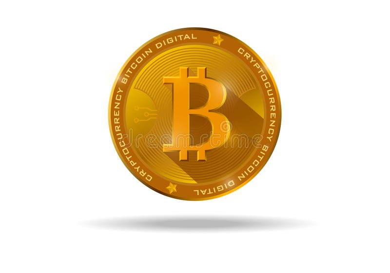 Bitcoin, a new world crypto currency, bitcoin realistic gold coin on a white background stock illustration