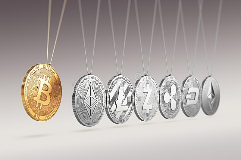 Bitcoin on Newton`s cradle boosts and accelerates other cryptocurrencies and back and forth. Cryptocurrencies boosting prices one. Another concept. 3D rendering stock illustration
