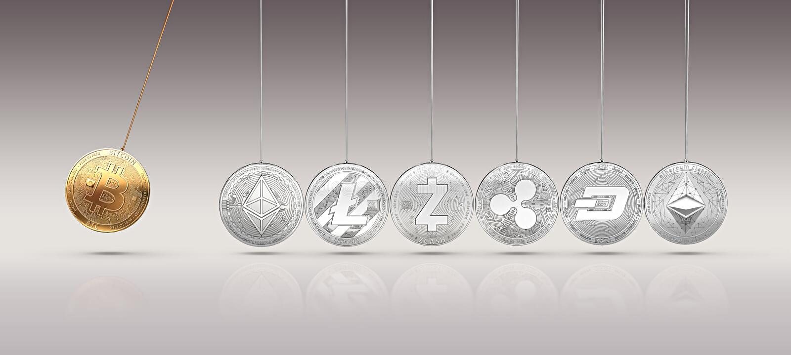 Bitcoin on Newton`s cradle boosts and accelerates other cryptocurrencies and back and forth. Cryptocurrencies boosting prices one. Another concept. 3D rendering vector illustration