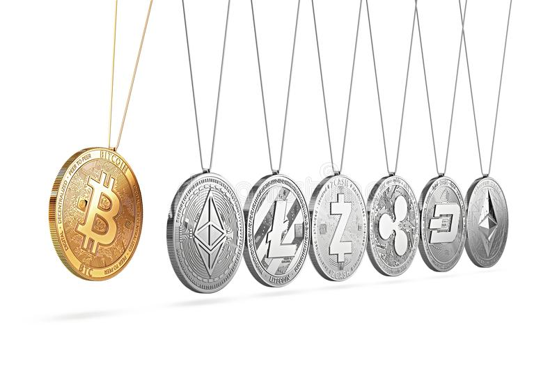Bitcoin on Newton`s cradle boosts and accelerates other cryptocurrencies and back and forth. Cryptocurrencies boosting prices one another concept. 3D rendering stock illustration