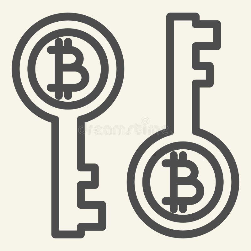 Bitcoin nyckel- linje symbol Illustration för Bitcoin säkerhetsvektor som isoleras på vit Cryptocurrency elektronisk nyckel- över vektor illustrationer