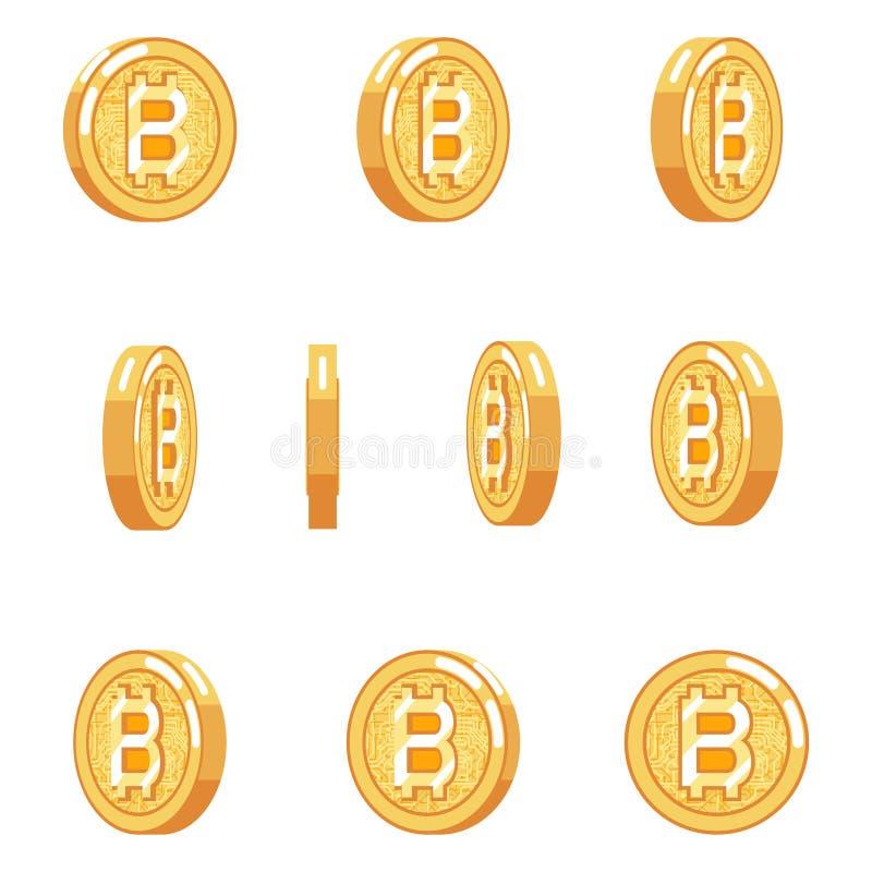 Bitcoin obracania animaci monety technologii pieniądze interneta cyfrowa waluta odizolowywać ikony ustawiają płaskiego projekta w ilustracja wektor