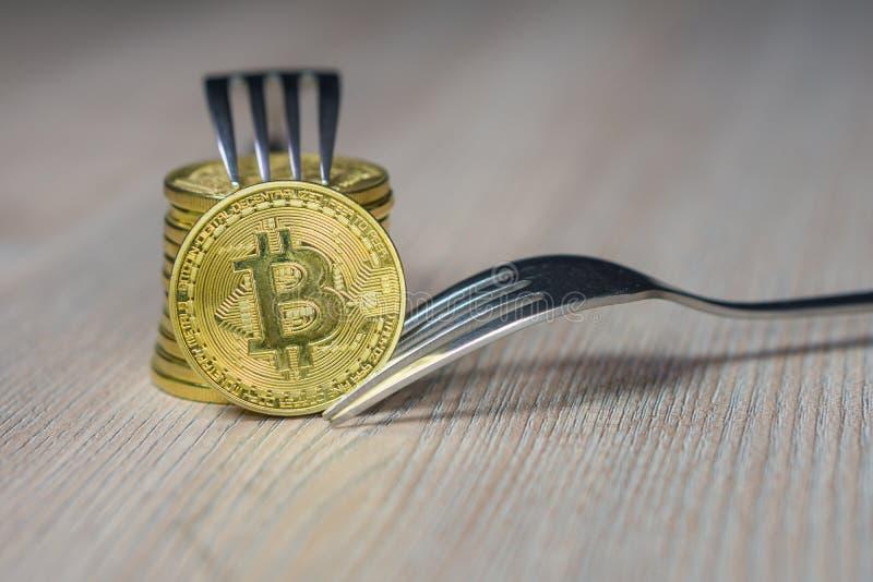 Bitcoin obtenant le nouveau changement dur de fourchette, pièce de monnaie d'or physique de Crytocurrency avec la fourchette, con photo libre de droits