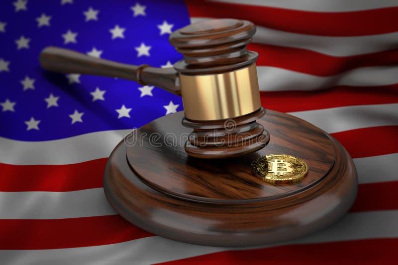 Bitcoin och domareauktionsklubba som lägger på flagga av USA stock illustrationer