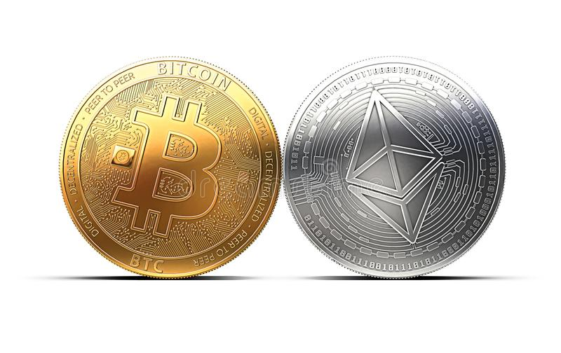 Bitcoin och Ethereum slåss för ledarskapet som isoleras på vit bakgrund vektor illustrationer