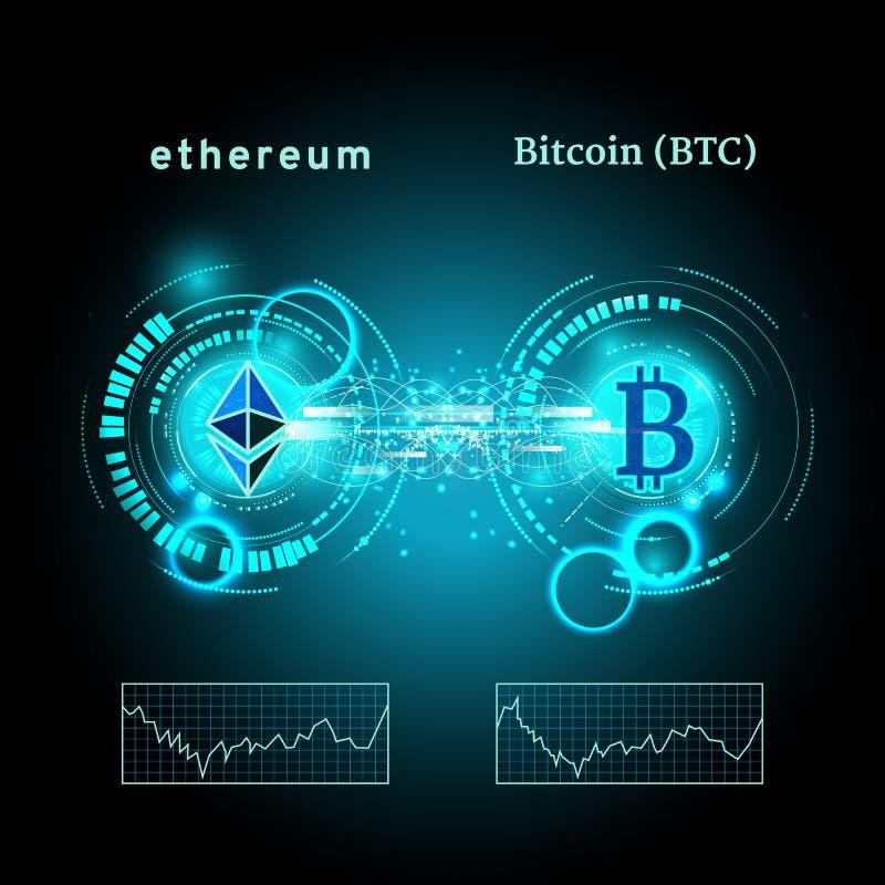 Bitcoin och ethereumsymbol med prisdiagrammet Cryptocurrency begrepp Futuristisk vektorblåttdesign royaltyfri illustrationer