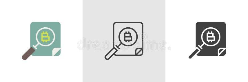 Bitcoin och förstoringsglassymbol vektor illustrationer