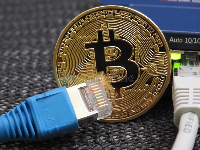 Bitcoin och nätverk arkivfoton