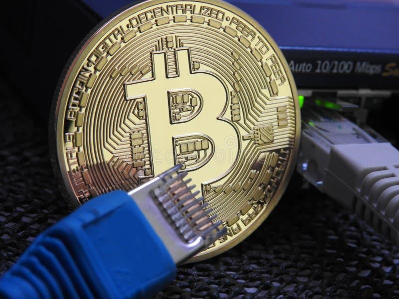 Bitcoin och nätverk royaltyfria foton