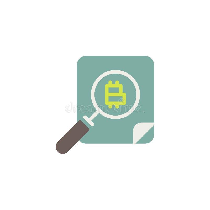 Bitcoin och plan symbol för förstoringsglas vektor illustrationer
