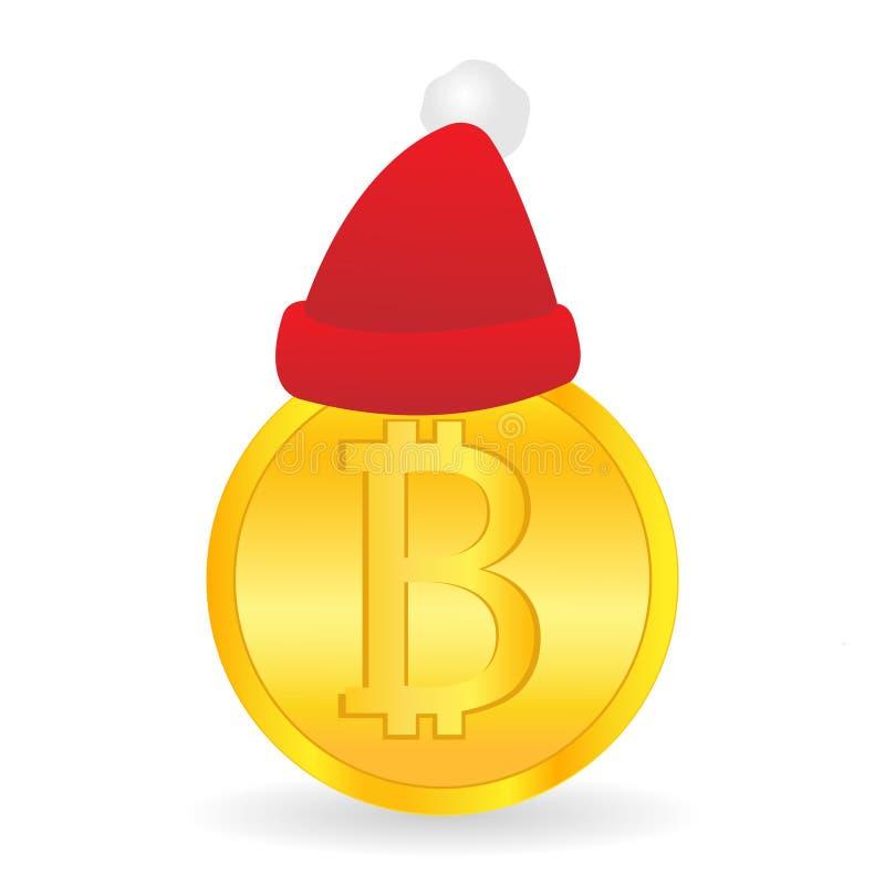 Bitcoin och Santa Claus hatt gåva santa Digital valuta Cryptocurrency vektorillustration vektor illustrationer