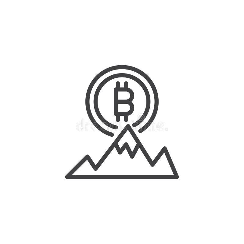Bitcoin och symbol för översikt för bergmaximum royaltyfri illustrationer