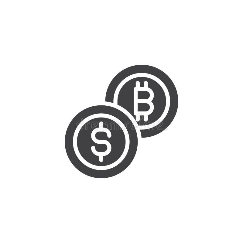 Bitcoin och symbol för dollarmyntvektor vektor illustrationer