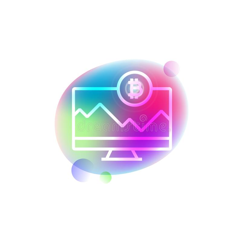 Bitcoin och symbol för neon för datorskärm royaltyfri illustrationer
