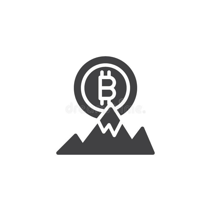 Bitcoin och symbol för vektor för bergmaximum royaltyfri illustrationer