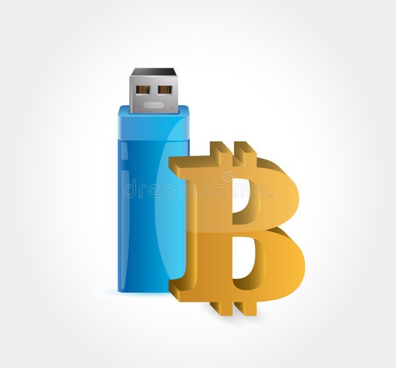 bitcoin och USB vektor illustrationer