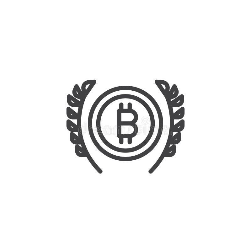 Bitcoin och veteöversiktssymbol vektor illustrationer