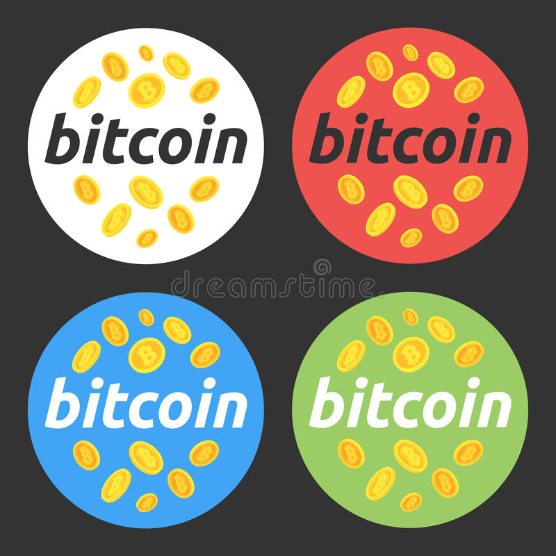 Bitcoin om illustratiereeks Bitcoin, effectenbeurs en zaken, het investeren, die geld, winst, cryptocurrency maken Voor Web desig stock afbeelding