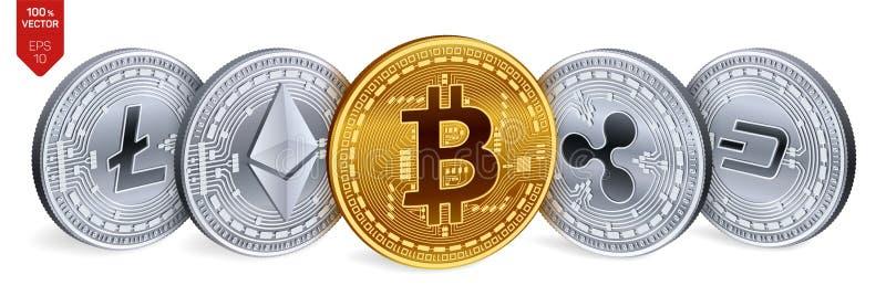 Bitcoin ondulación Ethereum rociada Litecoin monedas físicas isométricas 3D Moneda Crypto Monedas de oro y de plata con el bitcoi stock de ilustración