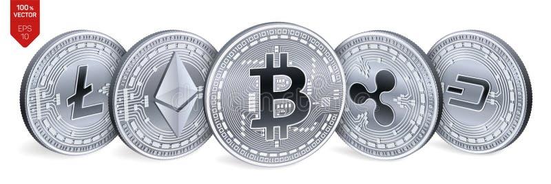 Bitcoin ondulación Ethereum rociada Litecoin monedas físicas isométricas 3D Moneda Crypto Monedas de plata con el bitcoin, ondula ilustración del vector