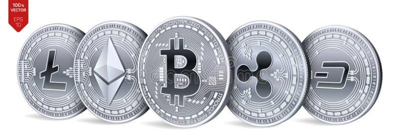 Bitcoin ondulation Ethereum dash Litecoin pièces de monnaie 3D physiques isométriques Crypto devise Pièces en argent avec le bitc illustration stock