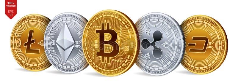 Bitcoin ondulation Ethereum dash Litecoin pièces de monnaie 3D physiques isométriques Crypto devise Pièces d'or et en argent avec illustration stock