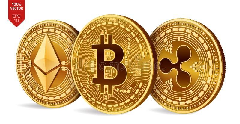 Bitcoin ondulation Ethereum pièces de monnaie 3D physiques isométriques Devise de Digital Cryptocurrency Pièces de monnaie d'or a illustration stock